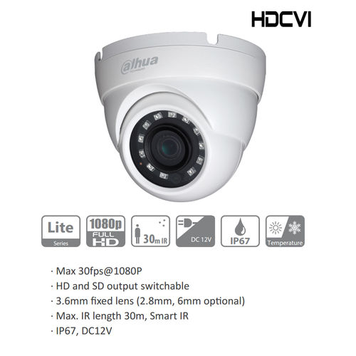 Dahua HDW1200MP-0280B HDCVI Eyeball FullHD Kamera, Multiformat HD/SD umschaltbar