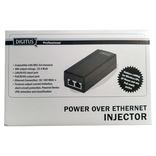 DIGITUS Professional Power over Ethernet Injector PoE 802.3af, 15,4 W