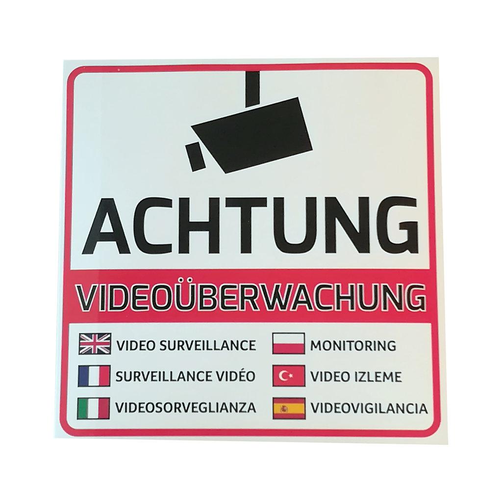 Videoüberwacht Hinweis Aufkleber 105 X 105 Mm Mehrsprachig Degbplfrtrites